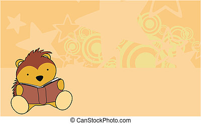 porcupine baby cute reading cartoon wallapaper in vector...