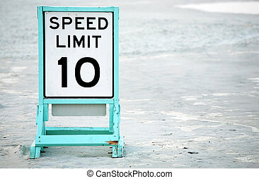 Posted speed limit on beach - Posted speed limit sign on...