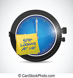 stop looking at me time concept illustration design over a...