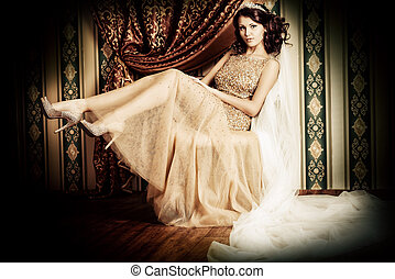 chic bride - Fashion shot of a stunning woman in luxurious...