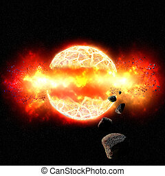 Fiery Explosion of Planet in Outer Space - Burning planet...
