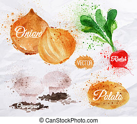 Vegetables watercolor radishes, onions, potatoes,...