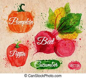 Légumes, aquarelle, maïs, brocoli, piment,...