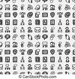 seamless doodle communication pattern