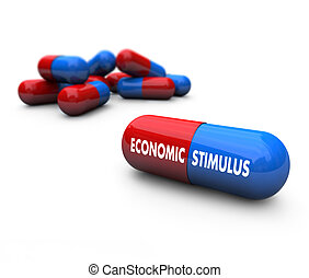 Economic Stimulus - Pills - A red and blue pill with the...