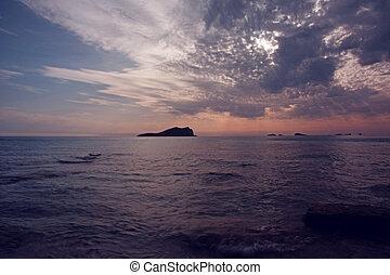 balearic island sunrise at sea view sunset ibiza