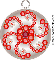 Pendant - Silver pendant decorated with pearls and rubies