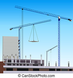 Construction site - Building construction with crane in the...