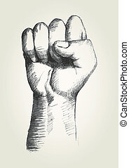 Fist - Sketch illustration of a right fist