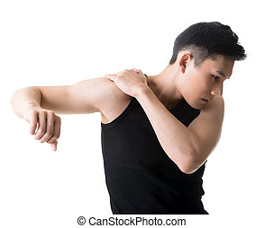 shoulder pain - Asian young man with shoulder pain, closeup...