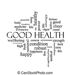 Good Health Word Cloud Concept in black and white with great...
