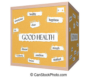 Good Health 3D cube Corkboard Word Concept