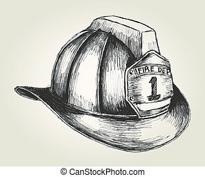 Firefighter Helmet - Sketch illustration of a firefighter...