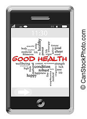 Good Health Word Cloud Concept on a Touchscreen Phone with...