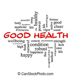 Good Health Word Cloud Concept in red caps with great terms...