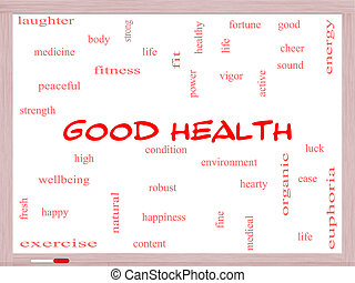 Good Health Word Cloud Concept on a Whiteboard