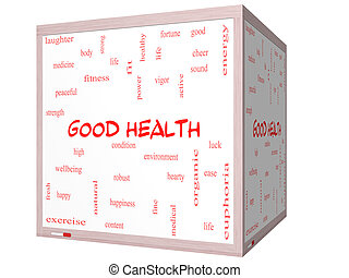 Good Health Word Cloud Concept on a 3D cube Whiteboard