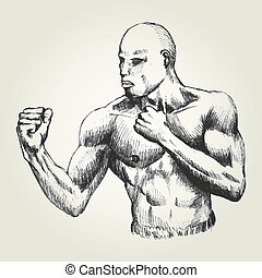 Fighter - Sketch illustration of a man with ready to fight...