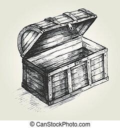Treasure Chest - Sketch illustration of a treasure chest