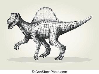 Spinosaurus - Sketch illustration of a spinosaurus