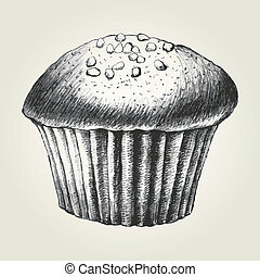 Cupcake - Sketch illustration of a chocolate chips cupcake