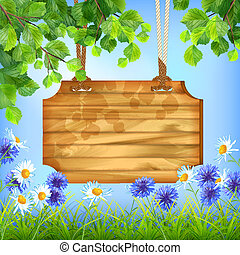 Wooden Sign Board Summer Day Natural Background - Vector...