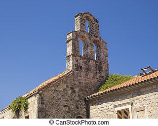 Mediterranean architecture - small chapel with bell tower...
