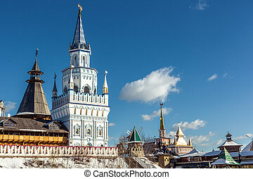 White-stone Kremlin in Izmaylovo in Moscow, Russia