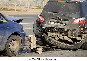 car crush  - Accident involving two cars at a crosswalk
