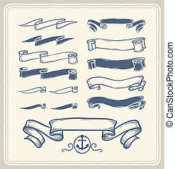 Nautical ribbons - Set of vintage nautical ribbons over...