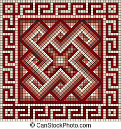 classic Greek meander ornament - vector square mosaic with...