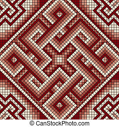 classic Greek mosaic seamless - vector square mosaic with...