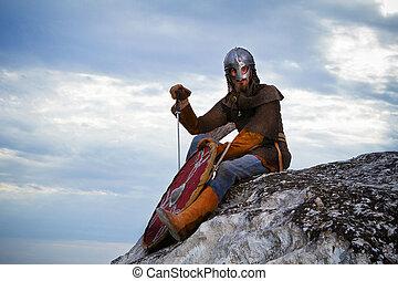 cavaleiro, sentando, rocha, espada