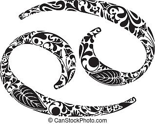 Cancer zodiac sign made of black floral elements