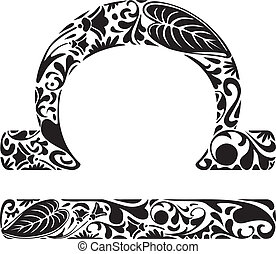 Libra zodiac sign made of black floral elements