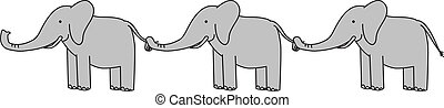 Happy elephants - Three grey elephants ina a row holding...