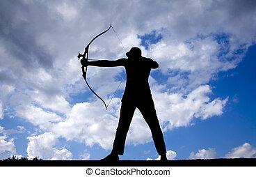 archer, silhouette