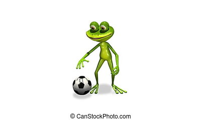 Frog with a soccer ball - animation merry soccer player frog...
