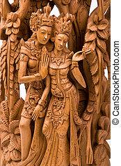 Rama and his wife Sita wood carving - Rama and his wife Sita...