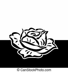 grief - template for obituary with abstract monochrome rose