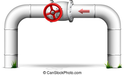 Pipe with red valve standing on the ground,