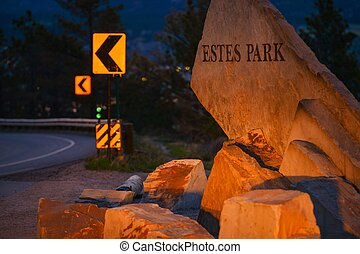 Estes Park City Entrance Sign at Dusk. Colorado, United...