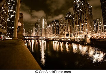 Chicago River in Gold. Downtown Chicago Illinois and Chicago...