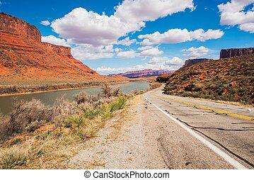 Utah Highway 128 - Scenic Utah Highway 128 Along Colorado...