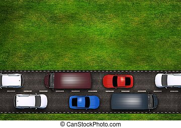 Cars on the Road Illustration. Top View with Copy Space on...