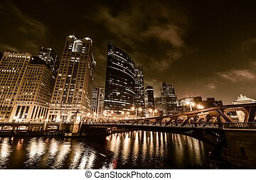 Chicago Night in Golden Color Grading. Chicago River. United...
