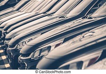 Cars For Sale Row - Cars For Sale Stock Lot Row. Car Dealer...
