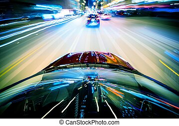 Nightly City Traffic Motion Blurs Colorful Urban...