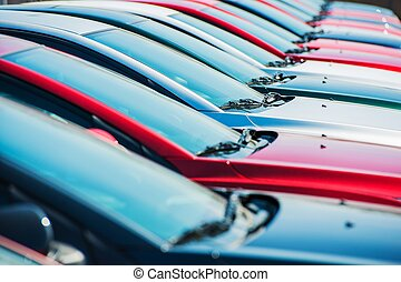 Brand New Cars in Stock. Dealership Vehicles Lot. New Cars...