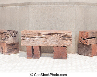 railroad ties bench - Benches made of railroad ties in the...